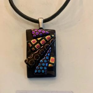 Silver Windmill Rectangular Dichroic Glass & Silver Mounted Pendant on leather chain with silver lobster clasp