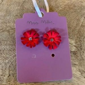 Miss Milly Red Daisy Earrings