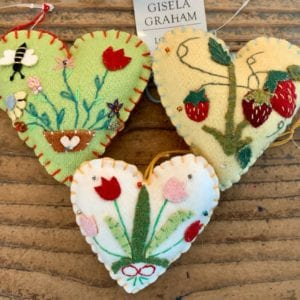 Gisela Graham Green Felt Heart Bee