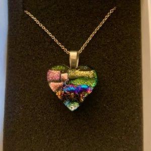 Sparkletastic Mosaic Dichroic Glass Heart Pendant