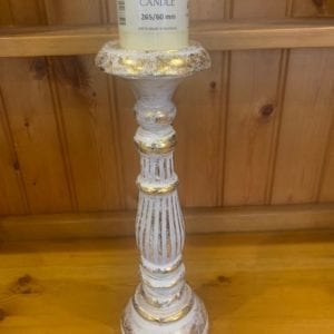 Ancient Wisdom Wooden Shabby Chic White Gold Candle Stand (Medium)