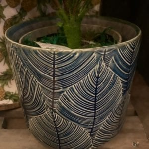 Gisela Graham Navy Leaf Plant Pot