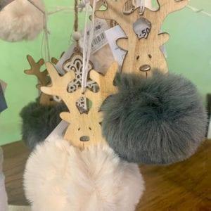 Heaven Sends Wooden Pom Pom Reindeer Grey