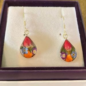 Shrieking Violet  Mixed Flower  Teardrop Earrings