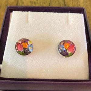 Shrieking Violet Mixed Flower Round Stud Earrings