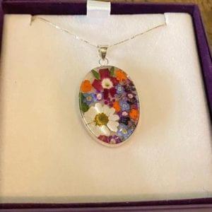 Shrieking Violet Mixed Flower Oval Pendant