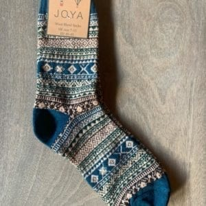 Joya BLUE FAIRISLE Wool Blend Men's Socks