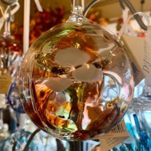 D & J Glassware Witch Ball Gold/Orange