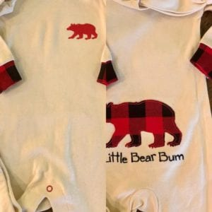 Hatley Infant 3-6 Coverall and Cap, Buffalo Plaid, Little Bear Bum