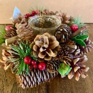 Floral Silk Pinecone T-Light Holder