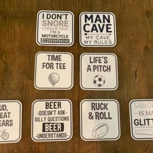 Transomnia 'Man Cave' Cork Backed Coaster