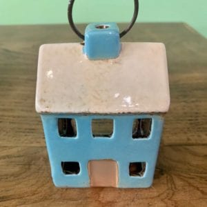 Heaven Sends Ceramic House T-Light Holder (Blue)