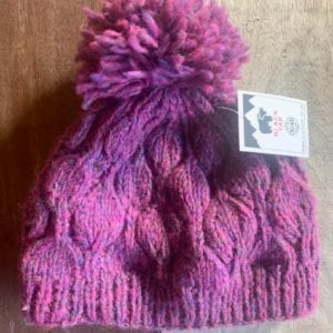 Black Yak Bobble Hat 'Pink Heather Leaf'