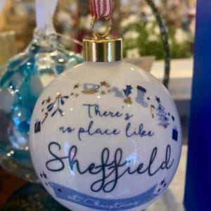 Love Your Nation Sheffield Christmas Bauble, Blue