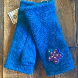 Black Yak Wrist Warmers Teal Flower