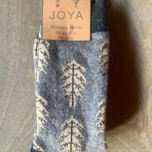 Joya LIGHT BLUE TREES Wool Blend Men's Socks