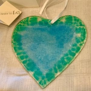 D & J Glassware Fused Glass Heart, Aqua