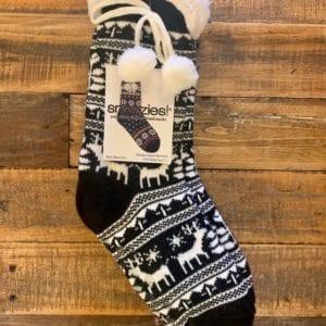 Snoozies Sherpa Lined Socks, Nordic Reindeer Black