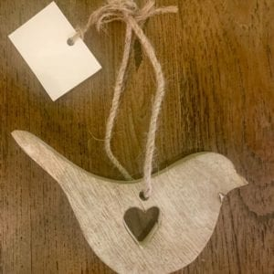 Transomnia Wooden Bird with Heart Hanging Decoration