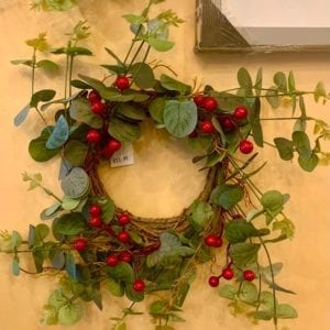 Grand Illusions Red Berry and Eucalyptus Wreath (Artificial)