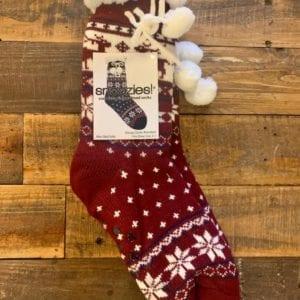 Snoozies Sherpa Lined Socks, Nordic Reindeer Burgundy