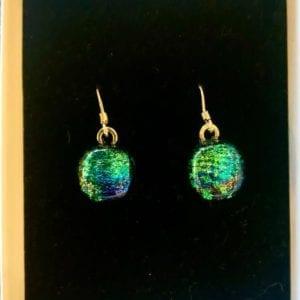 Sparkletastic Dichroic Dangly Earrings, Green/Blue