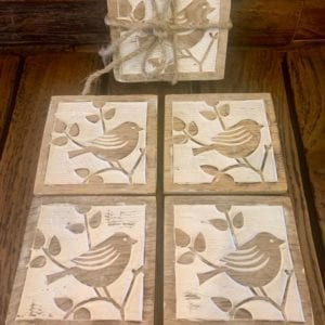 Transomnia Hand Carved Wooden Bird Coasters