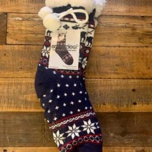 Snoozies Sherpa Lined Socks, Nordic Reindeer Navy