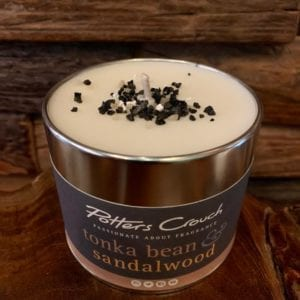 Potters Crouch Tonka Bean & Sandalwood Scented Candle in a Tin