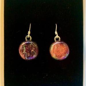 Sparkletastic Dichroic Dangly Earrings, Pink