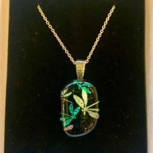 Sparkletastic Dichroic Glass Pendant, Dragonfly Blue/Green