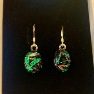 Sparkletastic Dichroic Dangly Earrings, Dragonfly Blue/Green