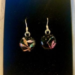 Sparkletastic Dichroic Dangly Earrings, Dragonfly Purple/Violet