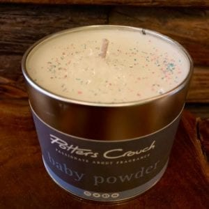 Potters Crouch Baby Powder Scented Candle in a Tin