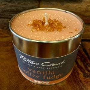 Potters Crouch Vanilla Toffee Fudge Scented Candle in a Tin