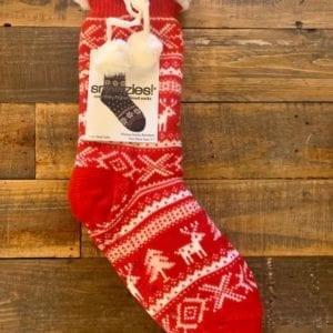 Snoozies Sherpa Lined Socks, Nordic Reindeer Red