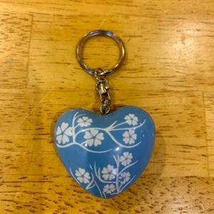 Transomnia Chime Heart Keyring – Blue w Flowers