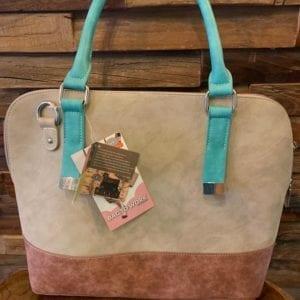Hi-Di-Hi League Sand, Brown & Aqua Handbag