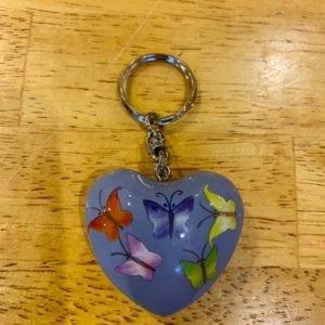 Transomnia Chime Heart Keyring – Blue w Butterflies
