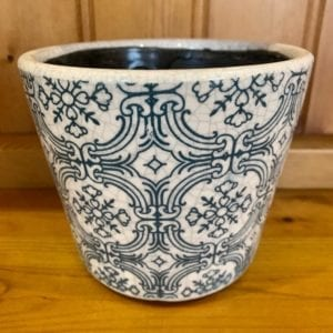 Grand Illusions Old Dutch Style Teal Plant Pot – Mixed Pattern