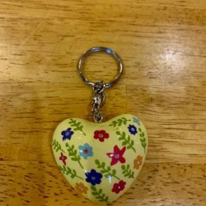 Transomnia Chime Heart Keyring – Yellow w Flowers