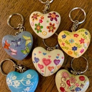 Transomnia Chime Heart Keyring – White w Hearts