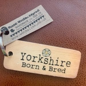 Wotmalike Yorkshire Born and Bred Yorkshire Rustic Wooden Keyring