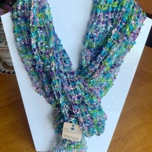 Cool Trade Winds Turquoise Purple Confetti Net Weave Scarf