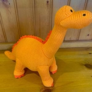 Abound Best Years Knitted Orange Diplodocus Soft Toy