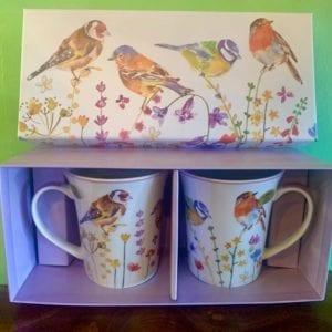 Joe Davies Garden Birds China Mugs, Set of 2