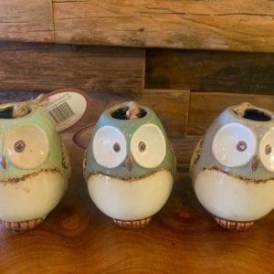 Joe Davies Village Pottery Round Owl Pot (Blue)